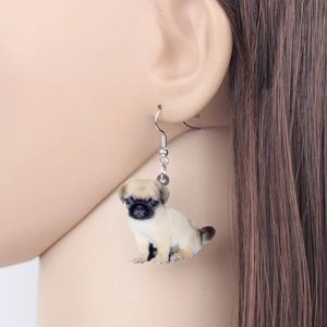 Acrylic Sweet Tiny Puppy Pug Dog Earrings